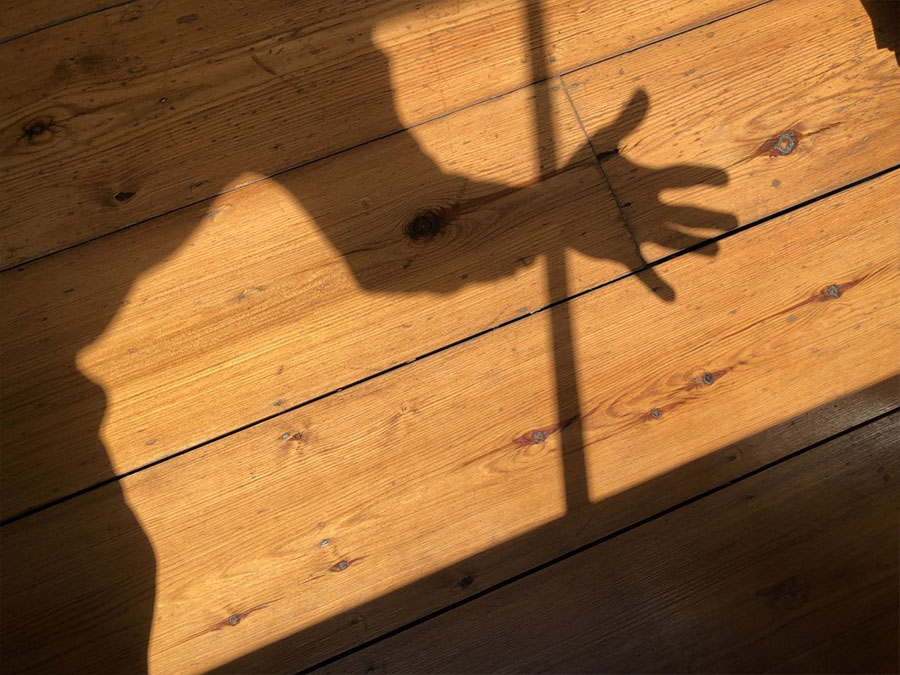 A shadow of the body and hand on wooden decking.